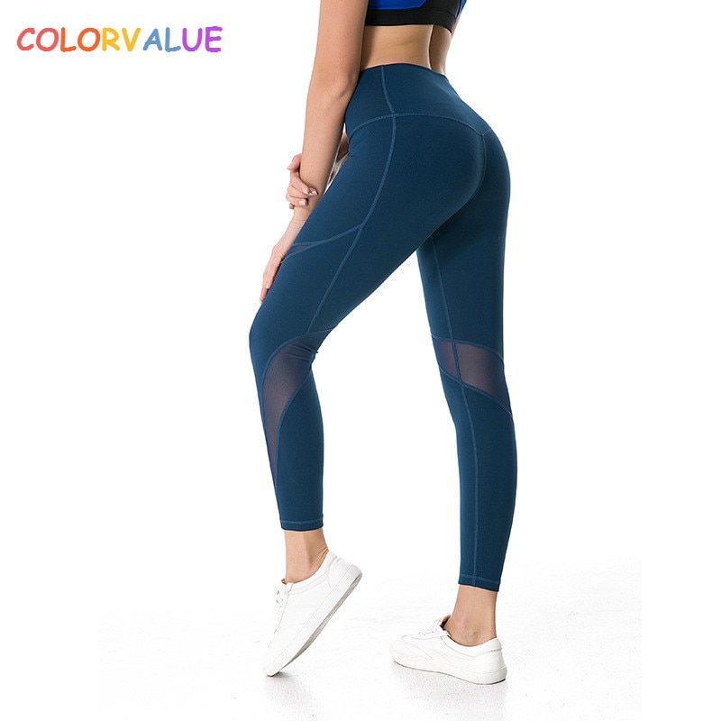 Colorvalue High Flexible Sport Fitness Leggings Women V-shape Push Up Butt Gym Athletic Tights Mesh Patchwork Yoga Workout Pants