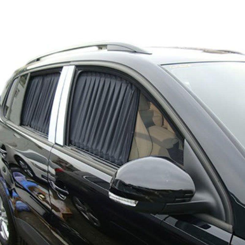High Quality 70S 70*37cm Black Cloth Fabric Car Adjustable UV Sunshade Visor Window Curtain
