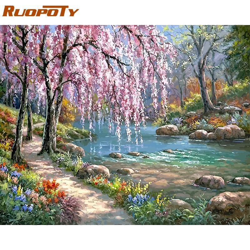 Cadre RUOPOTY rivières bricolage peinture à l'huile par numéros Kits paysage peinture acrylique sur toile cadeau Unique pour la décoration 40x50 cm Arts