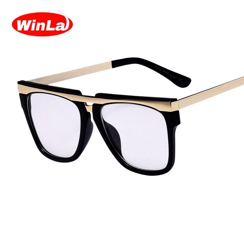 WINLA NEW DESIGN Fashion Unisex Square Metal Frames Optical Glasses Flat Mirror HD Transparent Clear <font><b>Lens</b></font> reading Glasses W2497