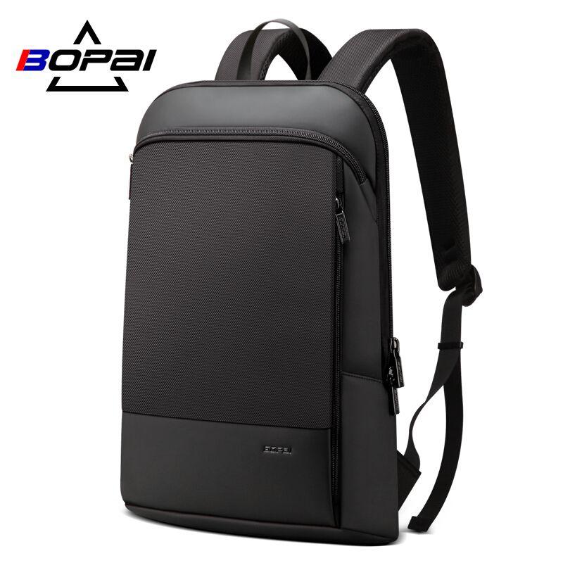 BOPAI Slim sac à dos pour ordinateur portable hommes 15.6 pouces bureau travail hommes sac à dos sac d'affaires unisexe noir ultraléger sac à dos mince