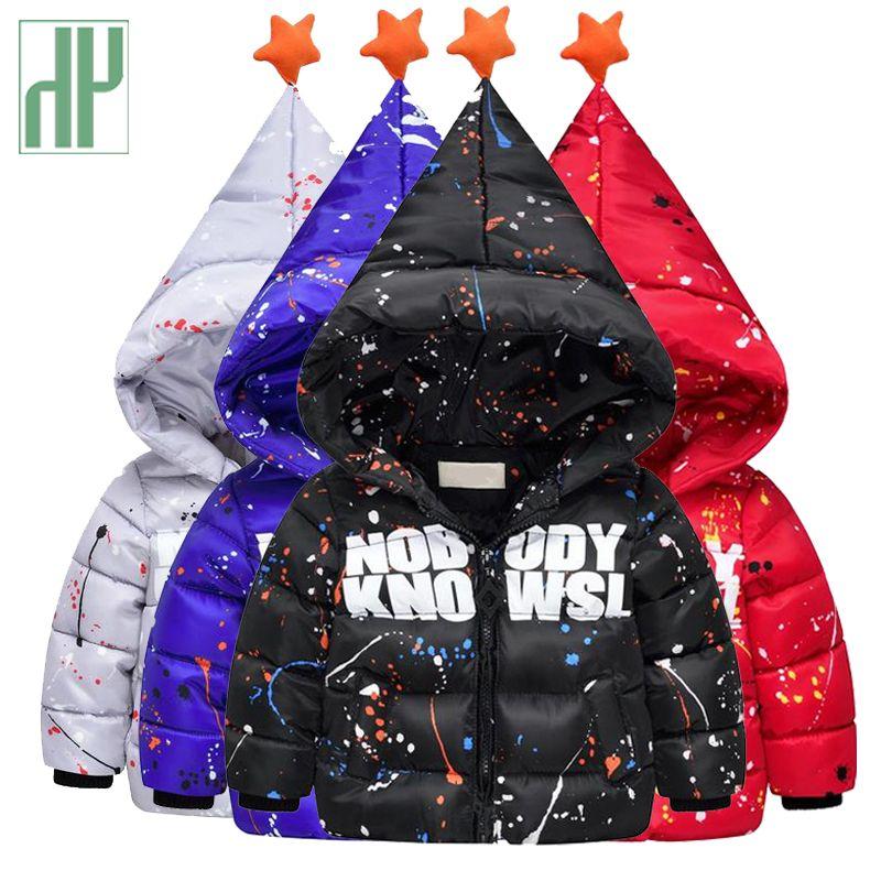 Enfants de vestes d'hiver De Mode impression graffiti bébé vers le bas veste pour les filles parka épais chaud garçons manteau capot enfants survêtement HH