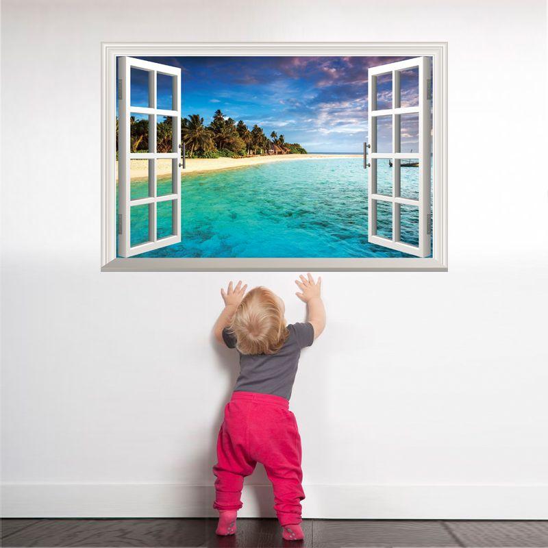 [SHIJUEHEZI] Island Beach Fenêtre Paysage 3D Wall Sticker Vinyle Murale Affiches pour Salon Chambre Décoration Murale Art