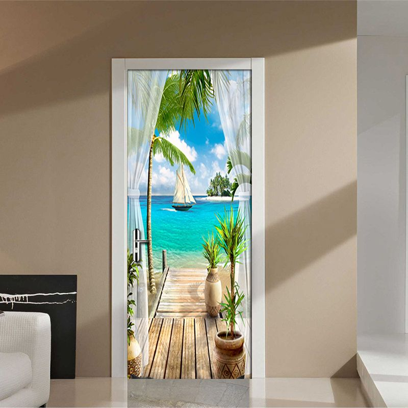 Custom Photo Wallpaper Mural 3D Window Blue Sky White Clouds Coconut Tree Landscape Mural PVC Self-adhesive Door Stickers Fresco