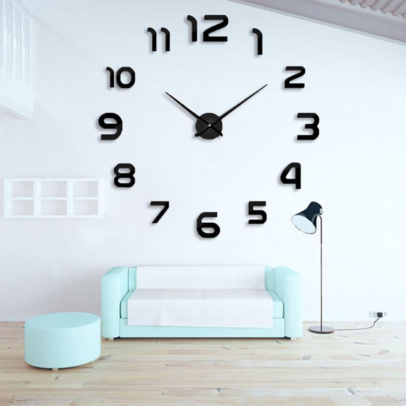 2017 Nouvelle mode 3D grande taille horloge murale miroir autocollant DIY mur horloges décoration de la maison horloge murale meetting chambre