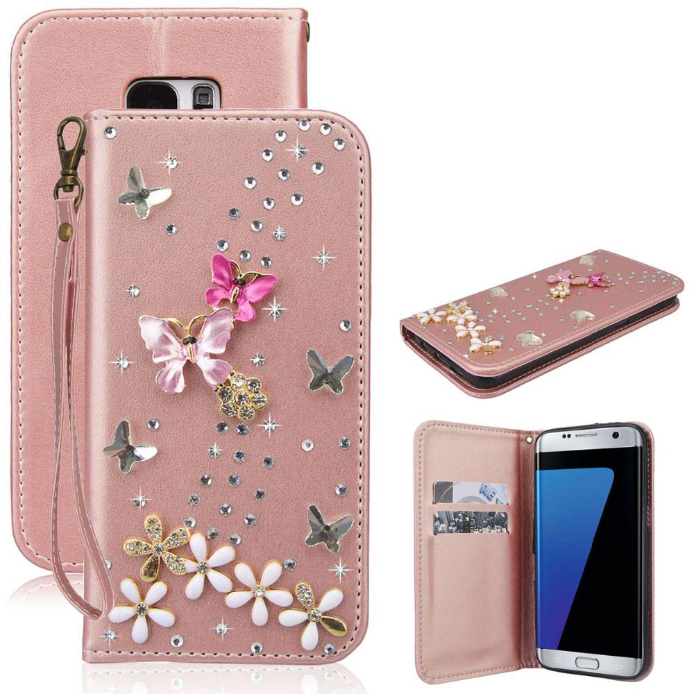 Diamant de luxe de Chiquenaude de Pochette Pour Samsung Galaxy J3 J5 J7 2016 A5 A3 2016 S6 S7 Bord S8 Plus Strass Cas Glitter En Cuir