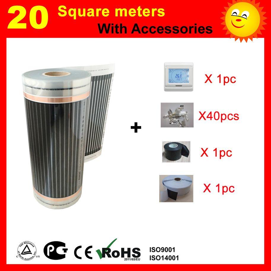 20 quadratmeter unter boden Heizung film mit thermostat und zubehör, AC220V weit infrarot heizung für haus