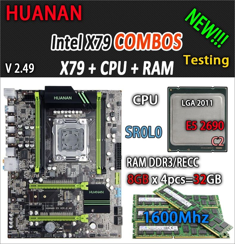 HUANAN golden V2.49 X79 motherboard LGA2011 ATX combos E5 2690 C2 SR0L0 4 x 8G 32GB 1600Mhz USB3.0 SATA3 PCI-E NVME M.2 SSD