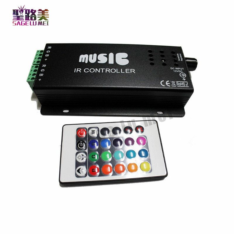 Лучшая цена DC12-24V 24 клавиши музыка контроллер ИК-пульт RGB звук чувствительным для 5050 3528 СИД свет лампы