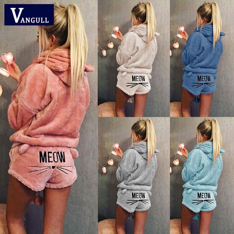 Vangull Women Two Piece Set 2018 New Autumn Winter Pajamas Warm Coral Velvet Suit Sleepwear Cute Cat Pattern Hoodies Shorts set