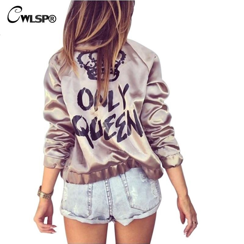 CWLSP Fashion Satin Silk Women Coats Gold Bomber Jacket Back ONLY QUEEN Crown Letter Print Outerwear Streetwear chaqueta <font><b>mujer</b></font>