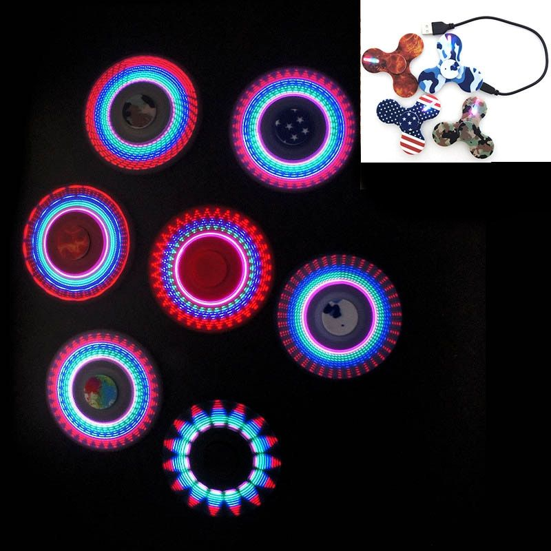 Rechargeable LED hand spinner lumineux 2017 ABS fidget finger spinner metal bearing anti stress for adults