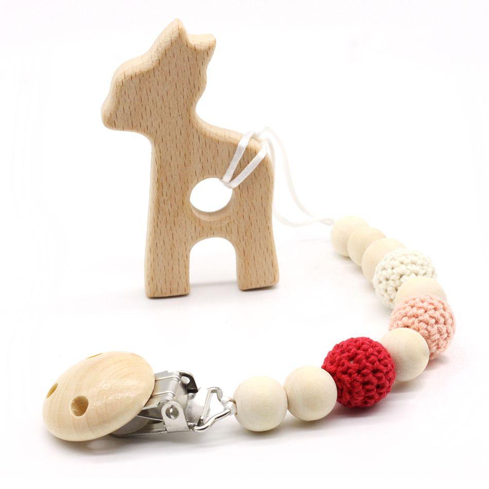 Нейтральный цвет детские Соски Клип держатель с бук Жираф подвеска в форме пустышки держатель Вязаные бусы новорожденного подарок