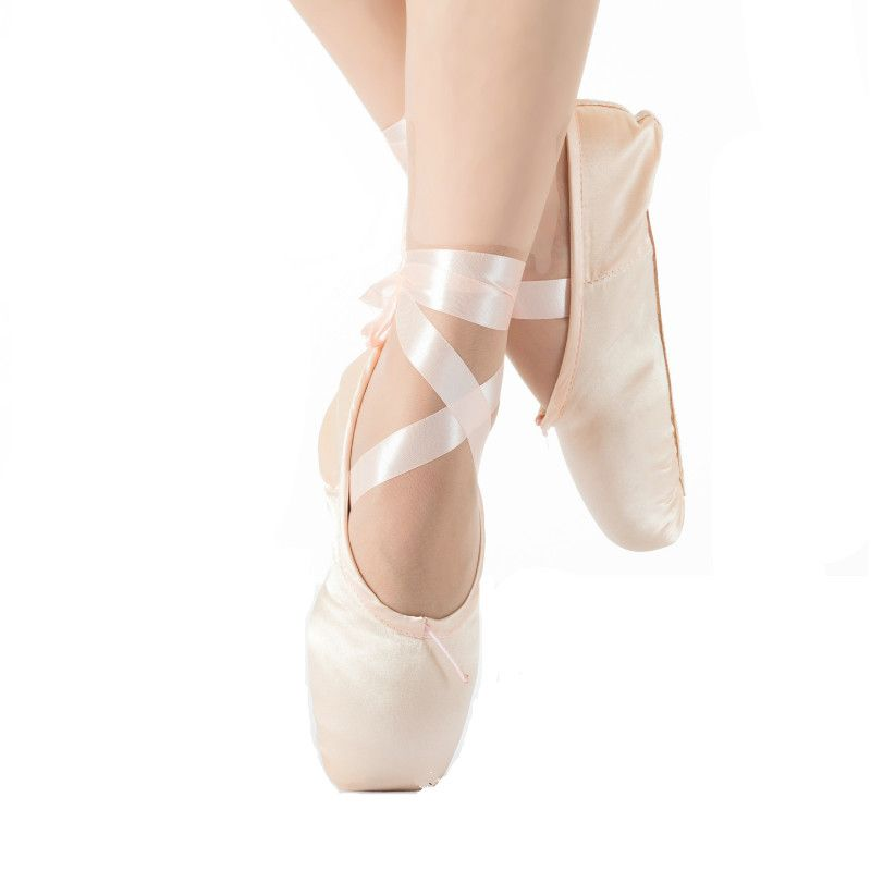 New Ballet Pointe Shoes Satin Upper With Ribbon & Toe Pad Girls Women's Professional Ballet Shoe Dance Shoes For Child and Adult