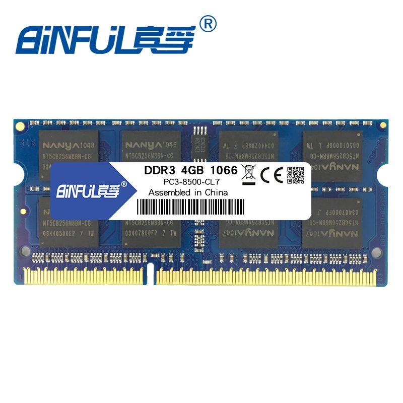 BINFUL DDR3 4GB 1066Mhz PC3-8500 SODIMM Memory Ram memoria For Laptop Notebook 1.5V 204pin