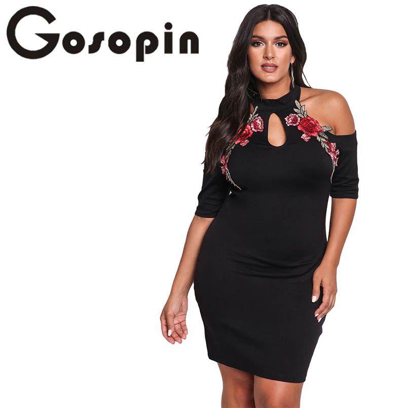 Gosopin Rose Applique Fleur de Broderie Plus La Taille Robe XXXL Noir Cold Shoulder Moulante Grand Sexy Discothèque Robes LC220129