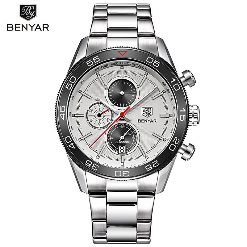 BENYAR Men Military Watch Mens Top Luxury Brand Chronograph Sport Quartz Wrist Watch Clock Stopwatch Date Saat Relogio Masculino