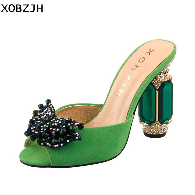 XOBZJH 2019 Neue Strass Schnalle Offene spitze Hochzeit Sandalen Frauen Mode Sommer Luxus Slip Auf Grün Hohe Ferse Schuhe Plus größe