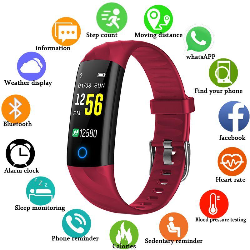 BANGWEI Smart Bracelet Blood Pressure Heart Rate Monitor Fitness Tracker Multifunction LED Color Screen Clock Smart Wristband