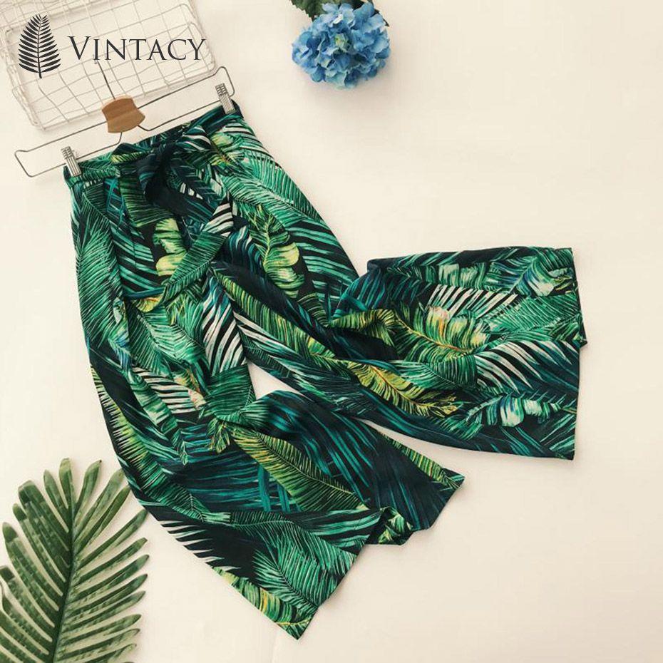 Vintacy Thailand Green Bohemian Seaside Resort Tropical Plant Printing High Waist Lace Wide Leg Casual Beach Female Pants