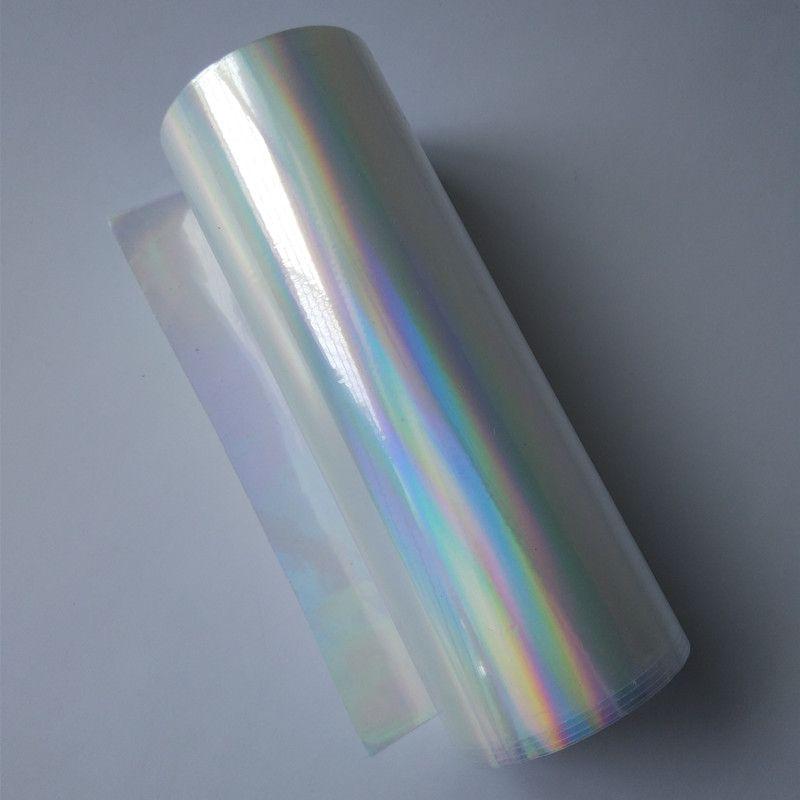 Feuille holographique presse à chaud sur papier ou plastique transparent arc-en-ciel feuille chaude