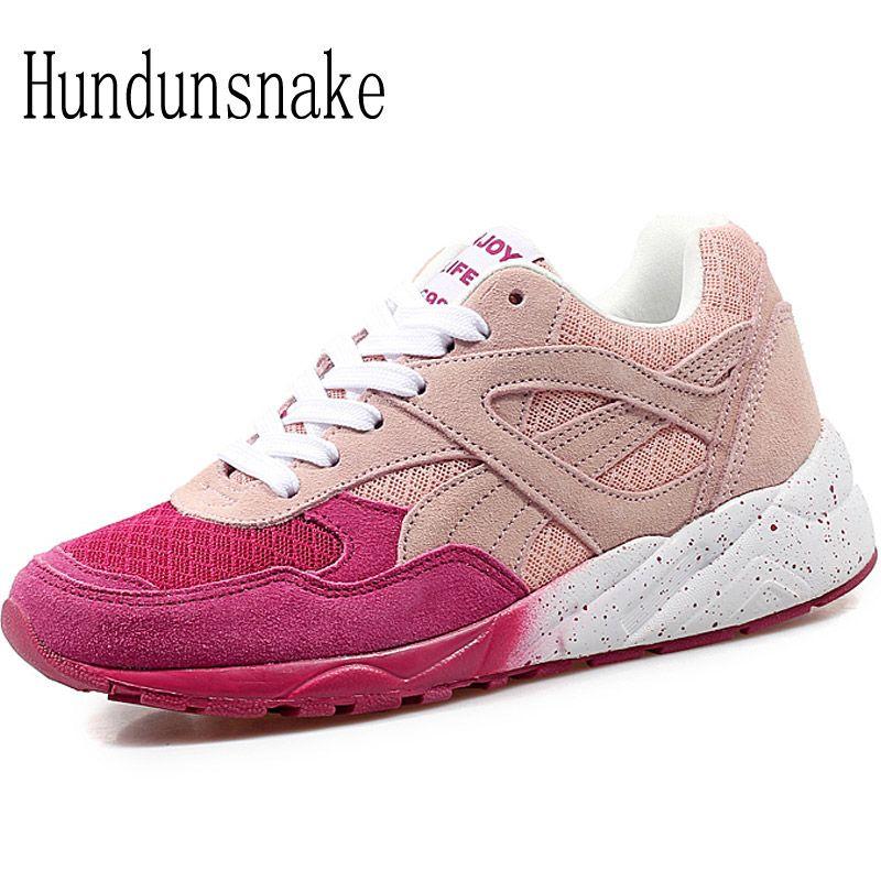 Hundunsnake Women's Sports Shoes Pink Air Mesh Breathable Sneakers Women 2017 Ladies Running Shoes Jogging Krasovki Gumshoe T293