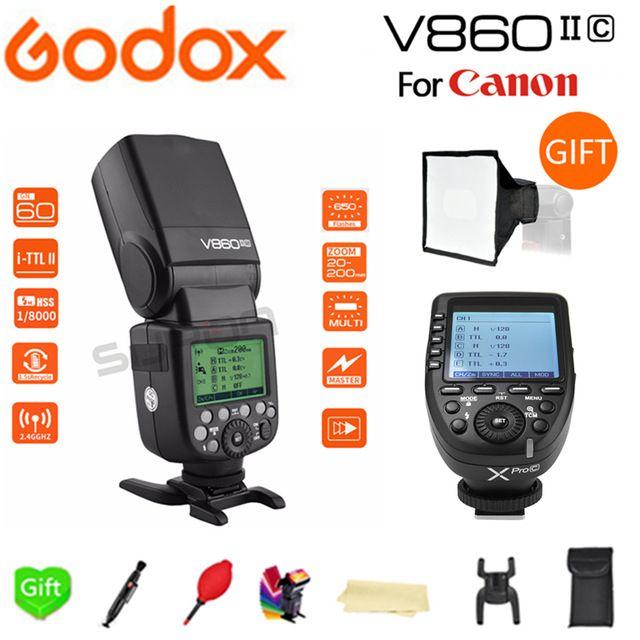 Godox The Flash V860II-C HSS 1/8000s Li-on Battery Flash Speedlite + Xpro-C for Canon D7500 7D Mark II 6D 70D 60D 1300D 200D