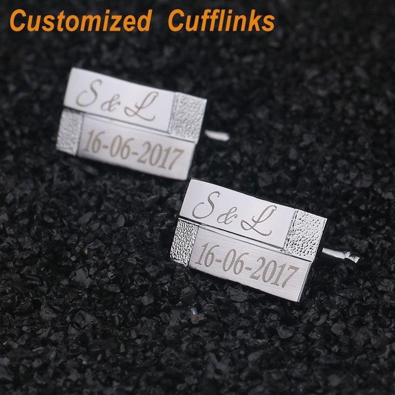 Gemelos personalizados Grabados Con Láser Personalizada Classic Gemelos Joyería Regalos de Boda para Los Hombres Con la Caja de Regalo QiQiWu CL-038