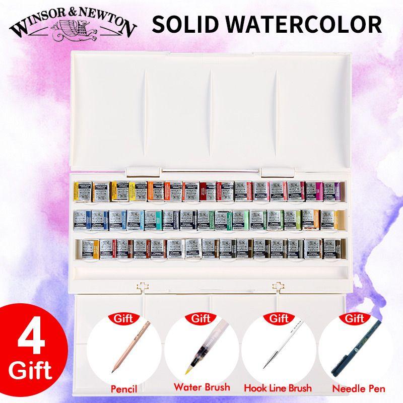 Importé Winsor & Newton Solide Aquarelle Peintures 12/16/24/45 Couleurs Demi Godets Pigment Couleur de L'eau peinture Ensemble Art Fournitures