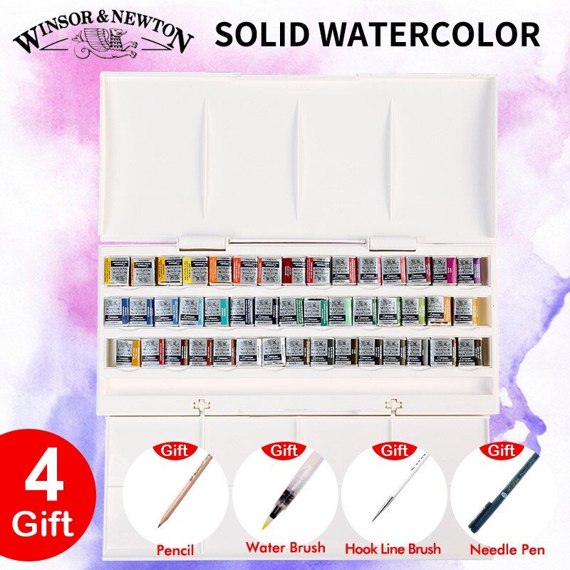 Imported Winsor&Newton Solid Watercolor Paints 12/16/24/45 Colors Half Pans Pigment Water Color Painting Set Art Supplies