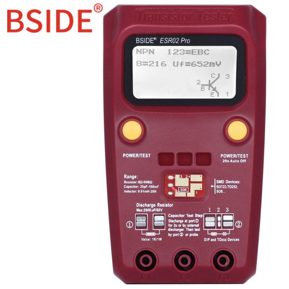 BSIDE ESR02 PRO Digital Transistor SMD Components Tester Diode Triode Capacitance Inductance Multimeter ESR Meter