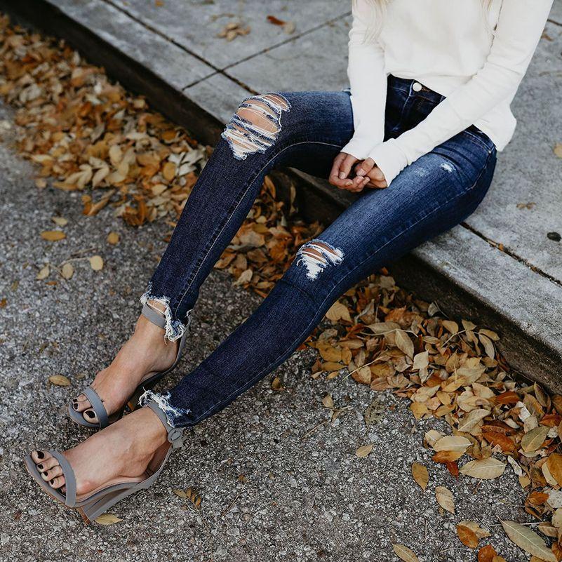 2019 déchiré Jeans femmes Slim taille haute petit ami Jeans coton été automne décontracté Streetwear Denim crayon Long pantalon Skinny