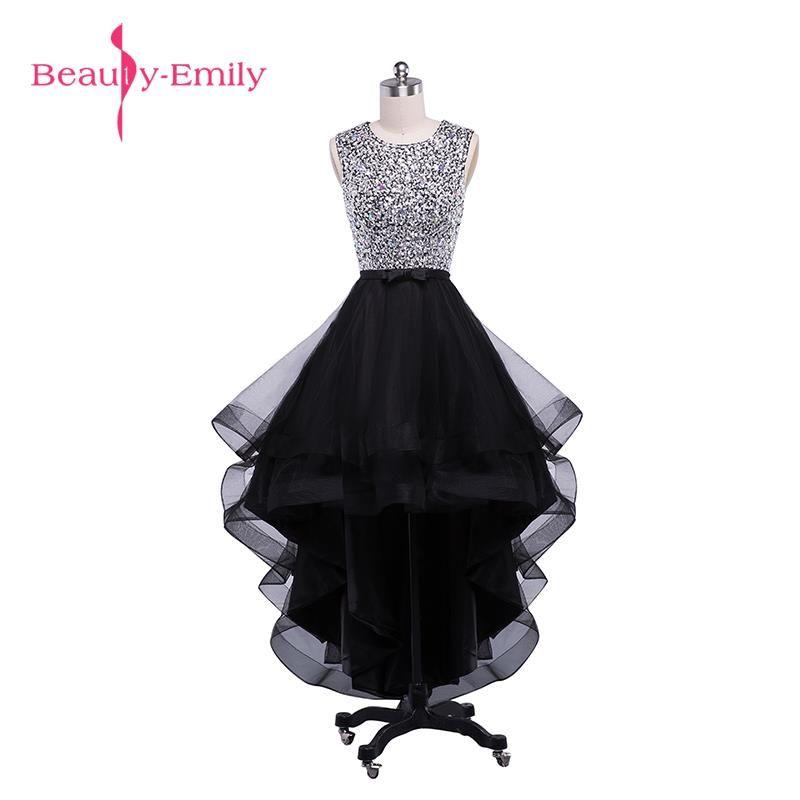 Beauty-Emily Sexy Black Asymmetrical Bridesmaid Dresses 2017 Prom Dresses O-Neck Sleeveless Backless Prom Dresses