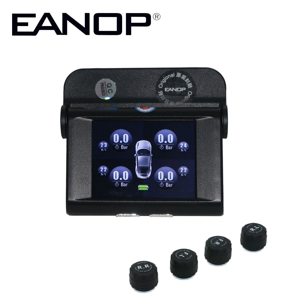 EANOP Solar TPMS TFT SCREEN With 4 Sensors PSI/BAR Tire Pressure Monitor Real time Temperature Monitoring Alarm System