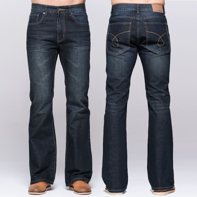 Mens jeans tradition boot cut leg fit flare jeans famous brand deep blue male jeans classic stretch pants