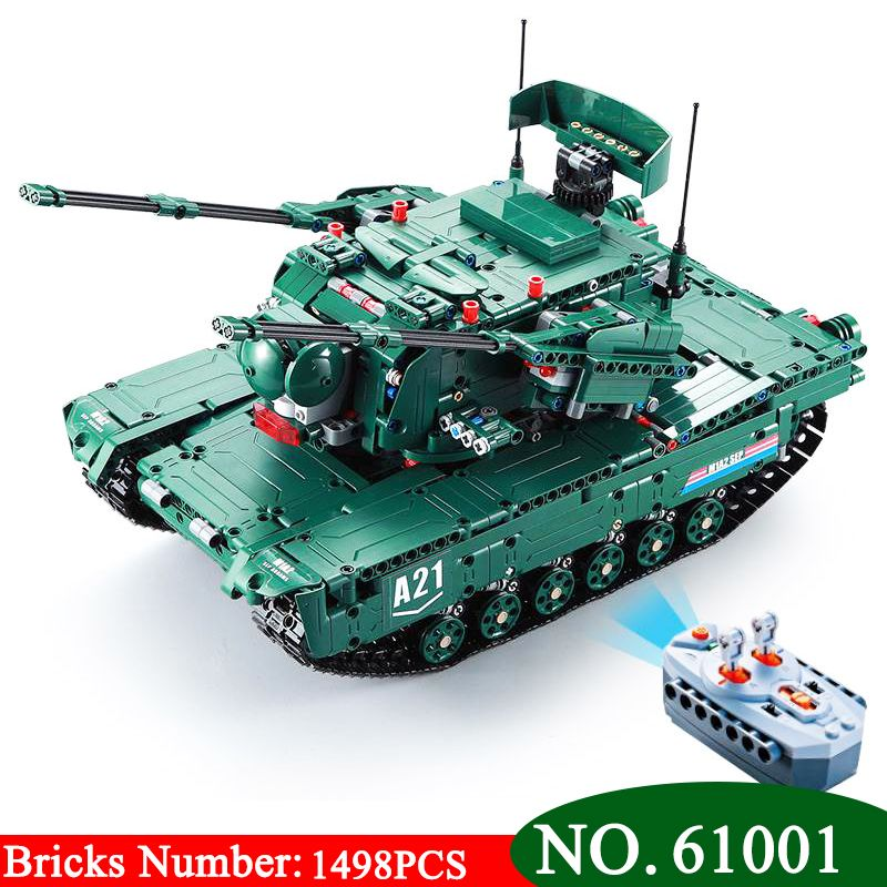 61001 1498 stücke Military Waffe Serie Die M1A2 RC Tank Modell Bausteine Ziegel Pädagogisches Spielzeug Für kinder Weihnachten Geschenke
