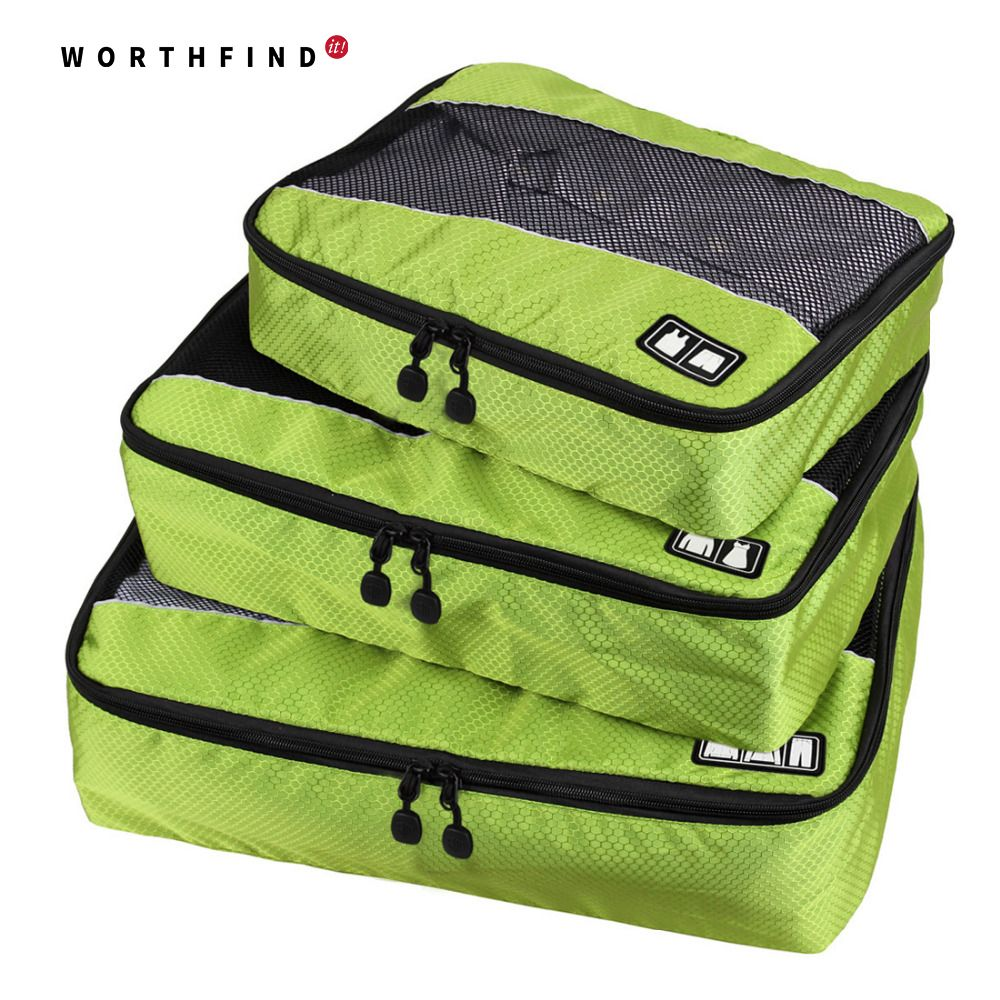 WORTHFIND 3 Pcs/Set Unisex Nylon Packing <font><b>Cubes</b></font> For Clothes Travel Bags For Shirts Waterproof Duffle Bag Organizers