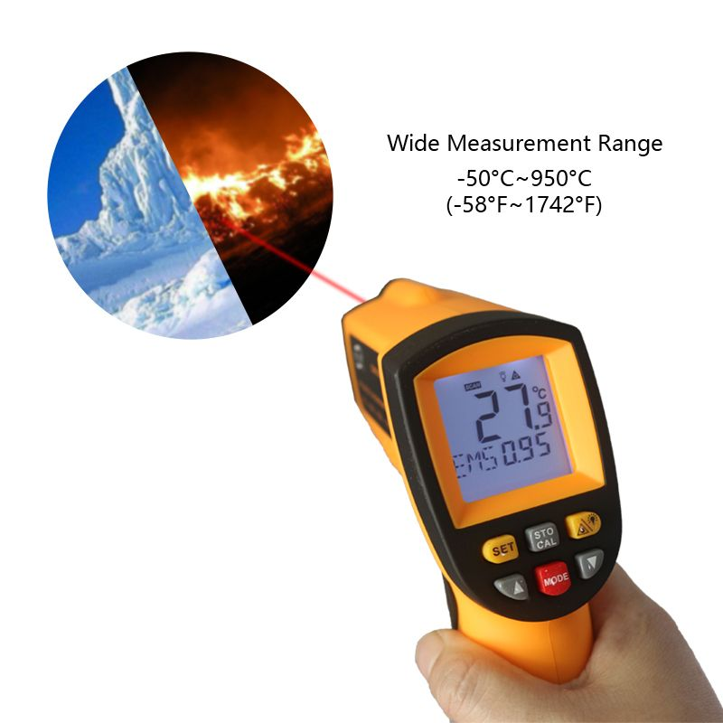 GM900 IR Infrared <font><b>Thermometer</b></font> Digital Temperature Meter -50~950C -58~1742F Pyrometer 0.1~1EM Celsius Termometro Infravermelho