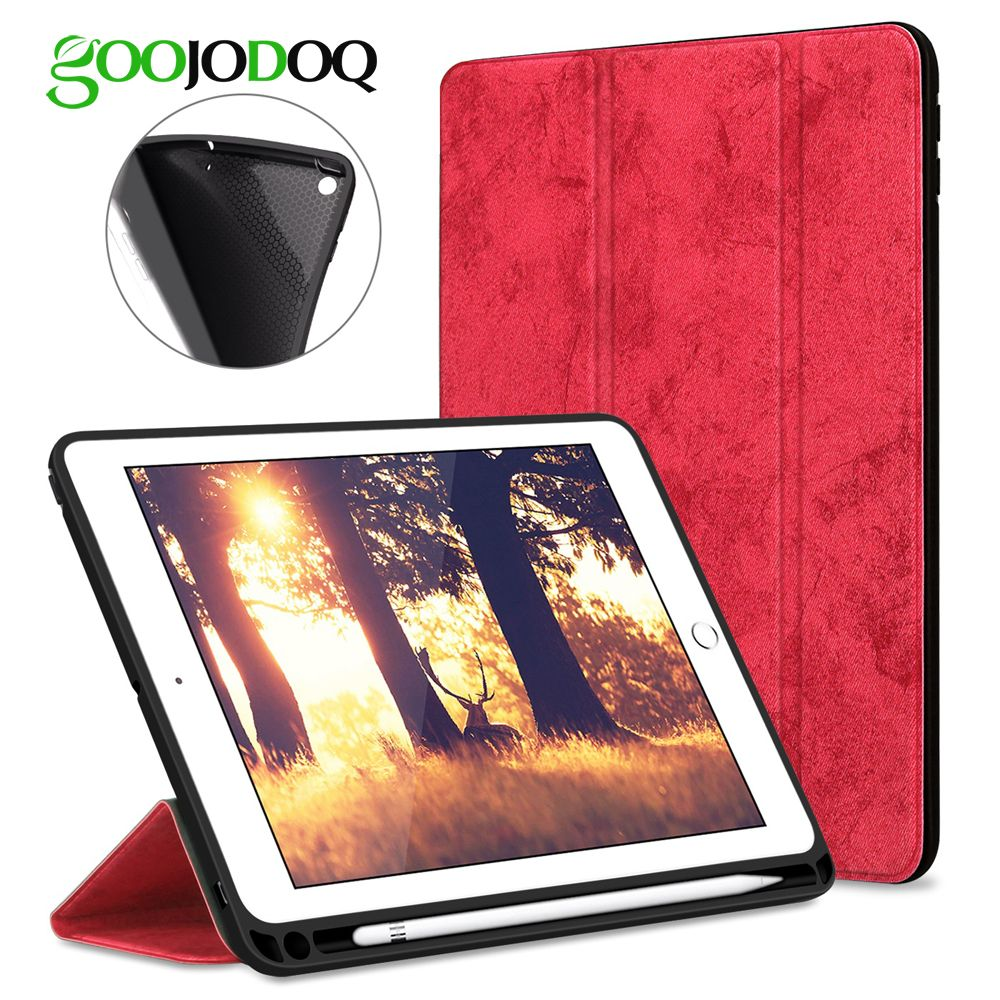 For <font><b>iPad</b></font> Pro 12.9 Case with Pencil Holder, GOOJODOQ Premium PU Leather TPU Soft Cover for <font><b>iPad</b></font> Pro 12.9 Case Smart Pen Holder