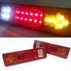 1Pair 12V Car External Lights LED Rear Tail Lights Lamp 19LED 5 Functions Super Bright Auto Trailer Truck Car Caravan