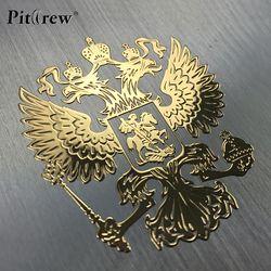 PITREW wappen Russlands Nickel Metall Auto Aufkleber Decals Russische Föderation Adler Emblem für Auto Styling Laptop Aufkleber