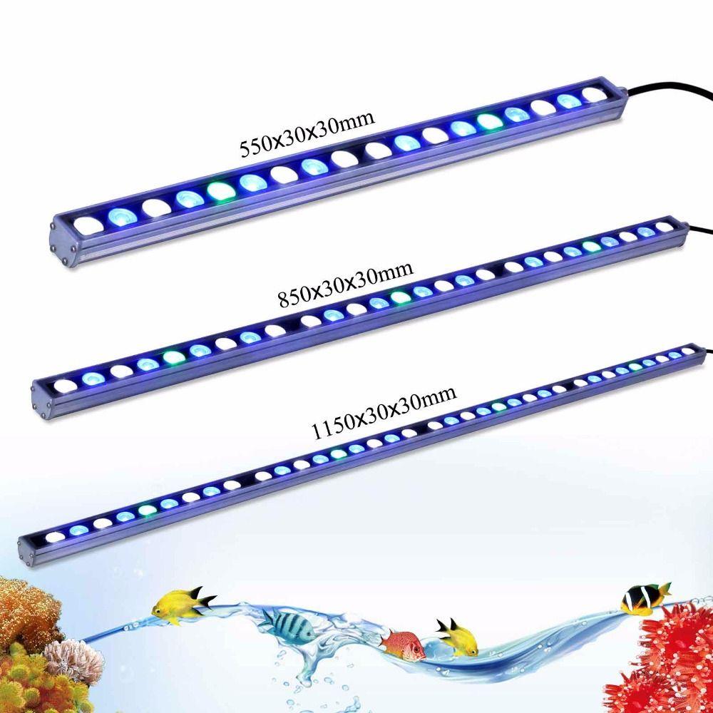 Led Aquarium Lamp Strip 54w/ 81w/108w reef coral aquaponics fish tank Led marine Light Bar White Blue UV 55cm/85cm/115cm Lights
