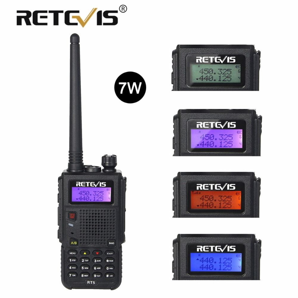 Retevis RT5 <font><b>Walkie</b></font> Talkie 7W 128CH VHF UHF Dual Band VOX FM Radio Scanner Amateur cb Radio Station Communicator Hf Transceiver