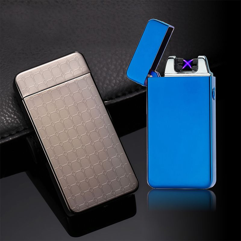 Double Arc USB Electric Metal Flameless Torch Rechargeable Windproof Lighter pulse cross ligthers smoking lighter Plasma