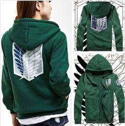 2 цвета аниме Атака Титанов костюм для косплея в стиле унисекс зеленый/черный худи с эмблемой легиона разведки куртка с капюшоном