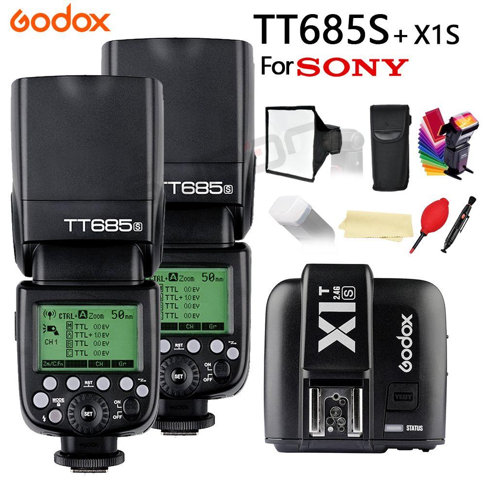 2x Godox TT685 for Sony DSLR Cameras A77II A7RII A7R A58 A97 with 2.4G 1/8000s HSS TTL TT685S Flash + X1T-S + 15*17cm softbox