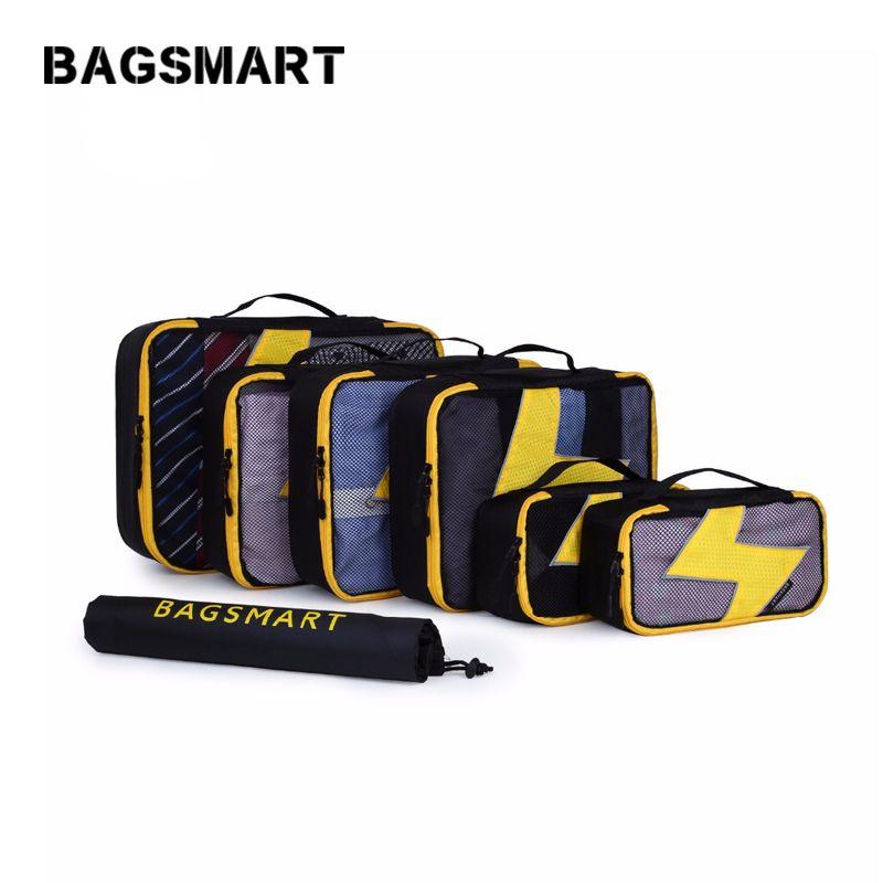 BAGSMART 7 pcs/ensemble Cubes D'emballage Voyage Bagages Emballage Organisateurs Unisexe Week-End Bagages Sac Voyage Organisateurs avec Sac À Linge