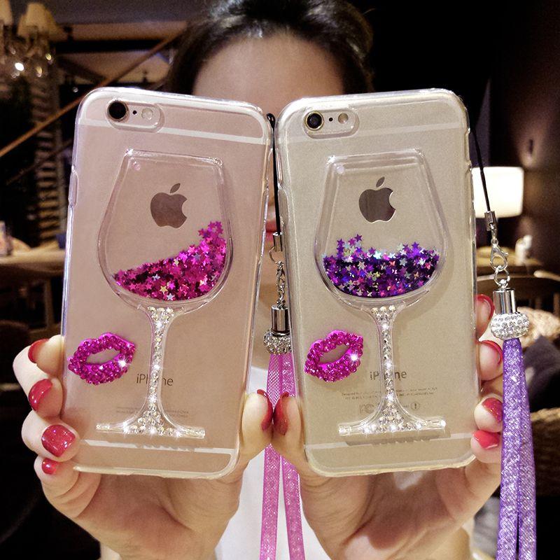 Pour iphone 5 6 6 s 7 8 X plus Samsung galaxy S5 S6 S7 s8 BORD PLUS NOTE 3 4 5 Diamant Vin Tasse glitter crystal case lanière