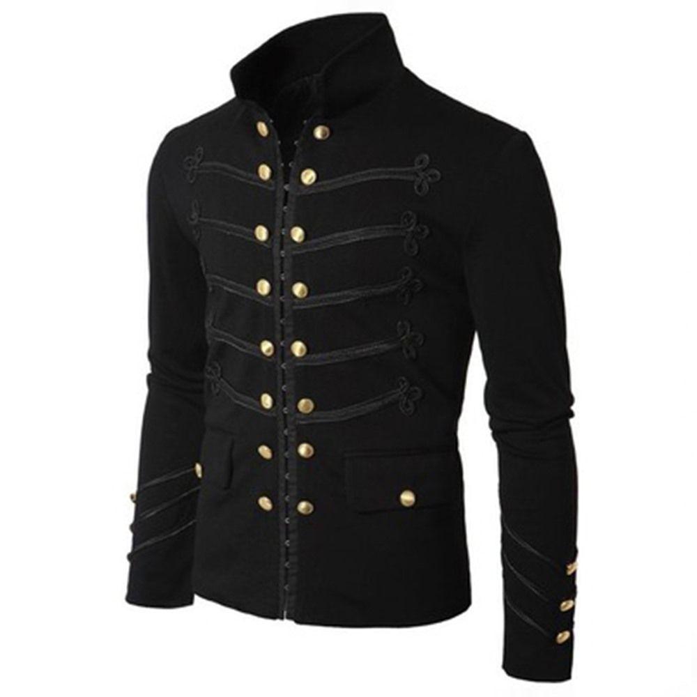 Rosetic Plus Size Men's Gothic Jackets Casual Black Vintage Loose Plain 3XL Medieval Men Stand Collar Button Warm Tops 2018