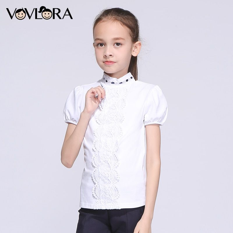 Girls School T-shirts Cotton White Lace Kids T-shirt Tops Short Sleeve Turtleneck Children Clothes 2018 Size 7 8 9 10 11 12 Year